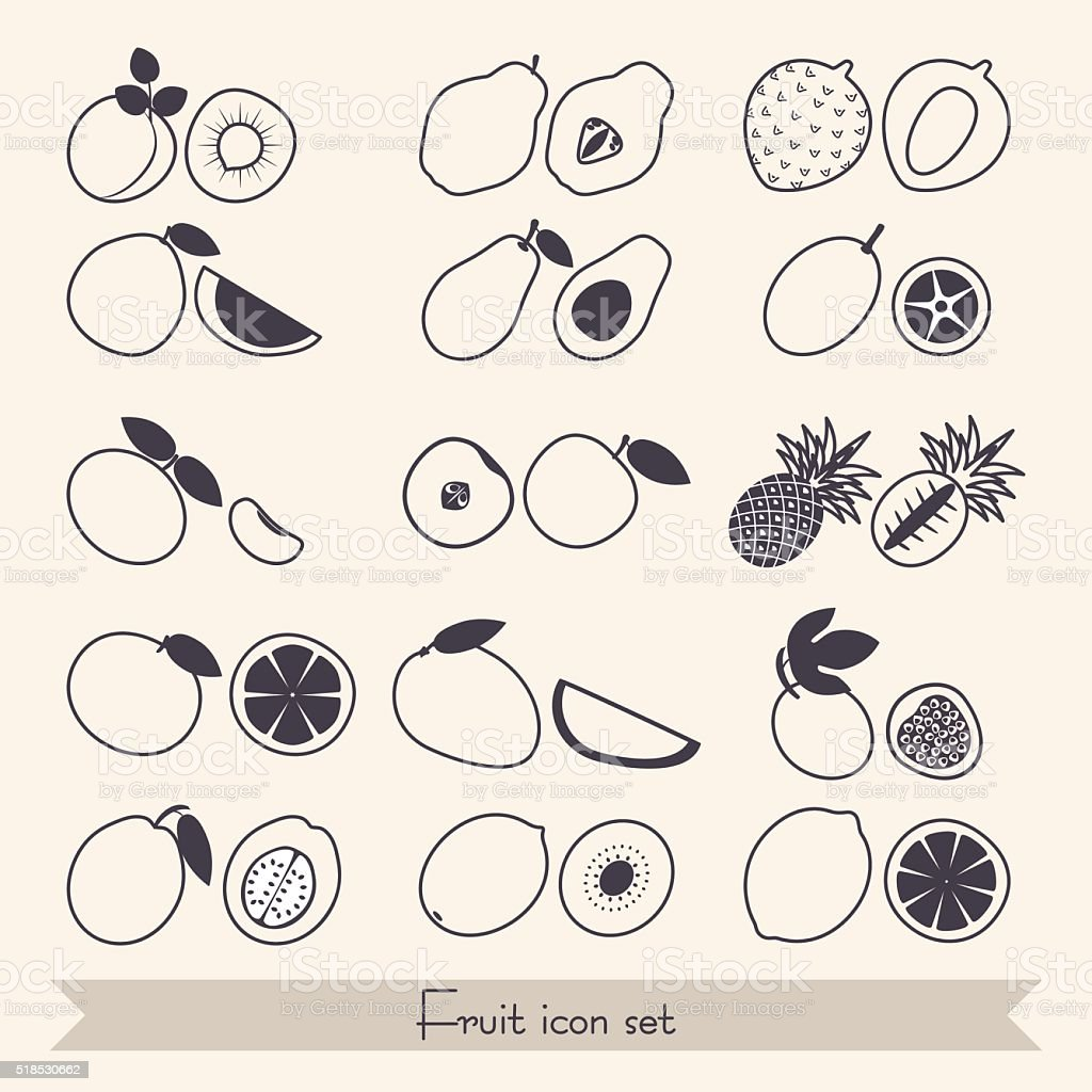 Set of fruit icons vector art illustration