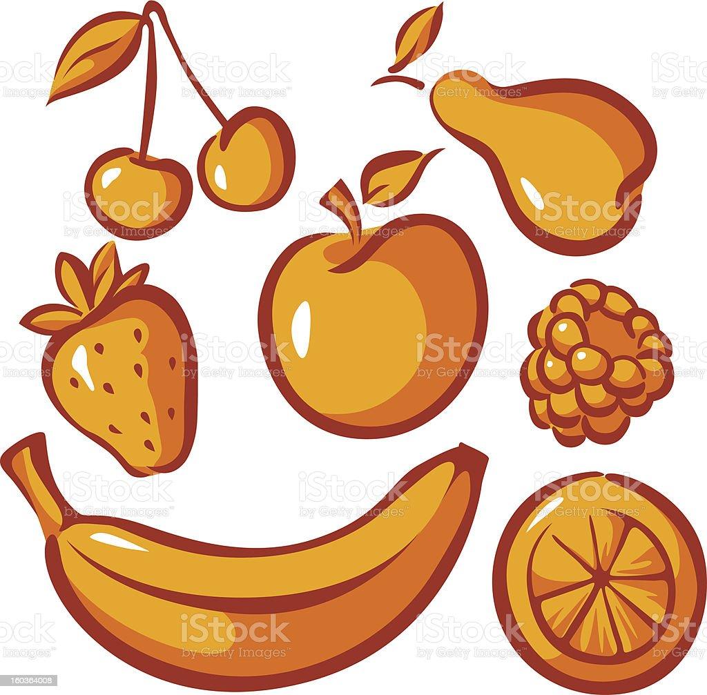 set of fruit royalty-free stock vector art