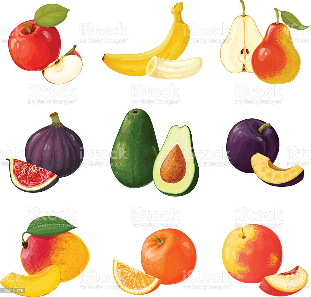 Set of fruits. ICONS vector art illustration