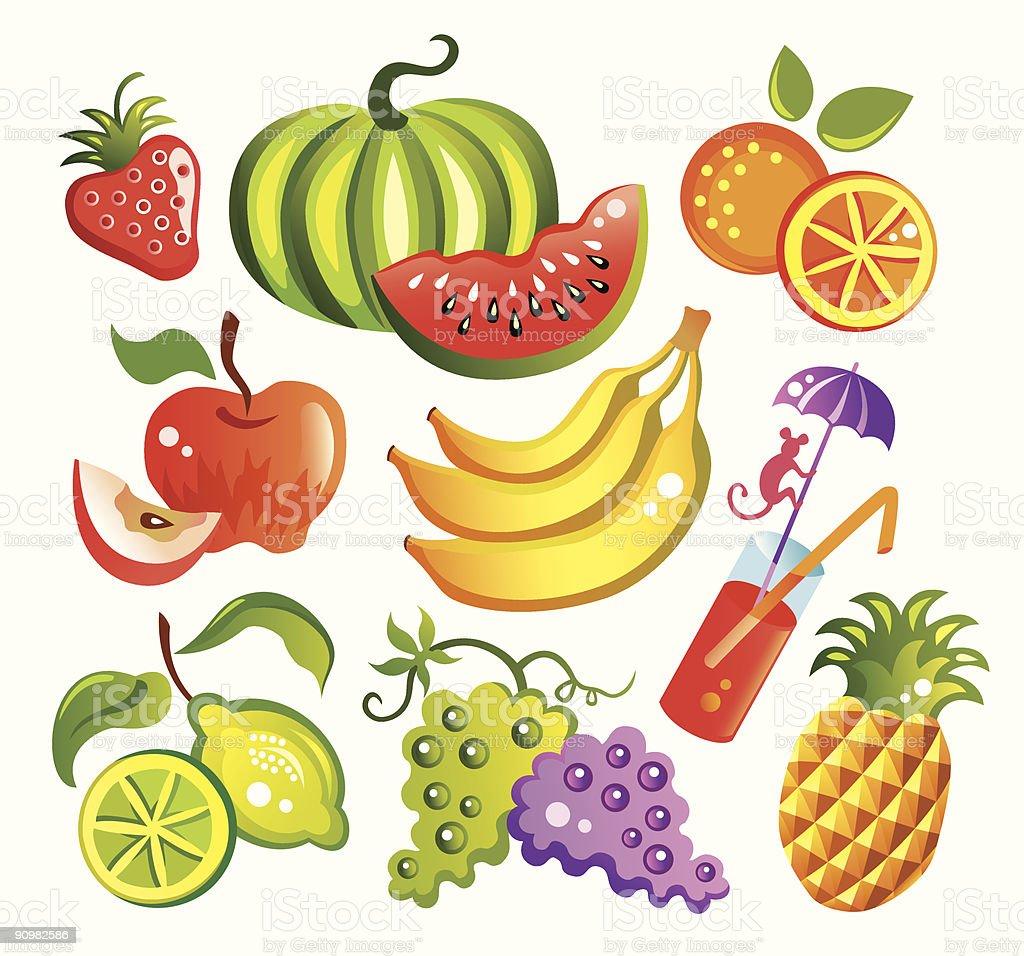Set of fruits royalty-free stock vector art