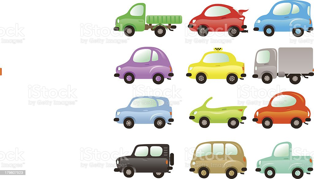 Set of funny and colored vector cars royalty-free stock vector art
