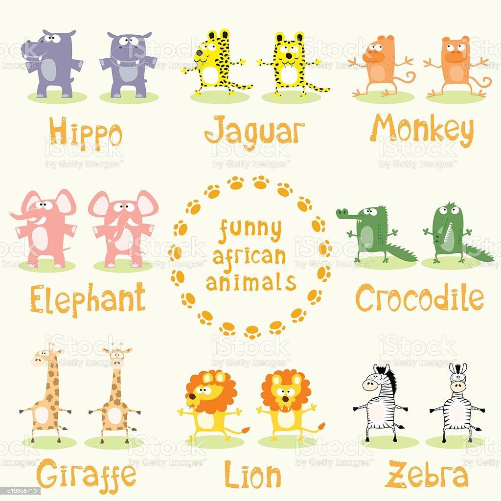 Set of funny animals drawing in cartoon style. Vector illustration vector art illustration