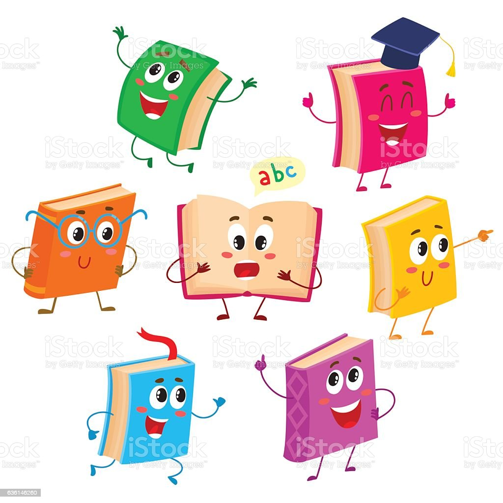 Set of funny book characters, mascots, cartoon vector illustration vector art illustration