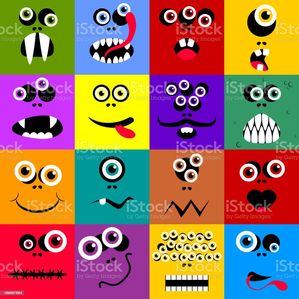 Set of funny cartoon expression monster vector art illustration