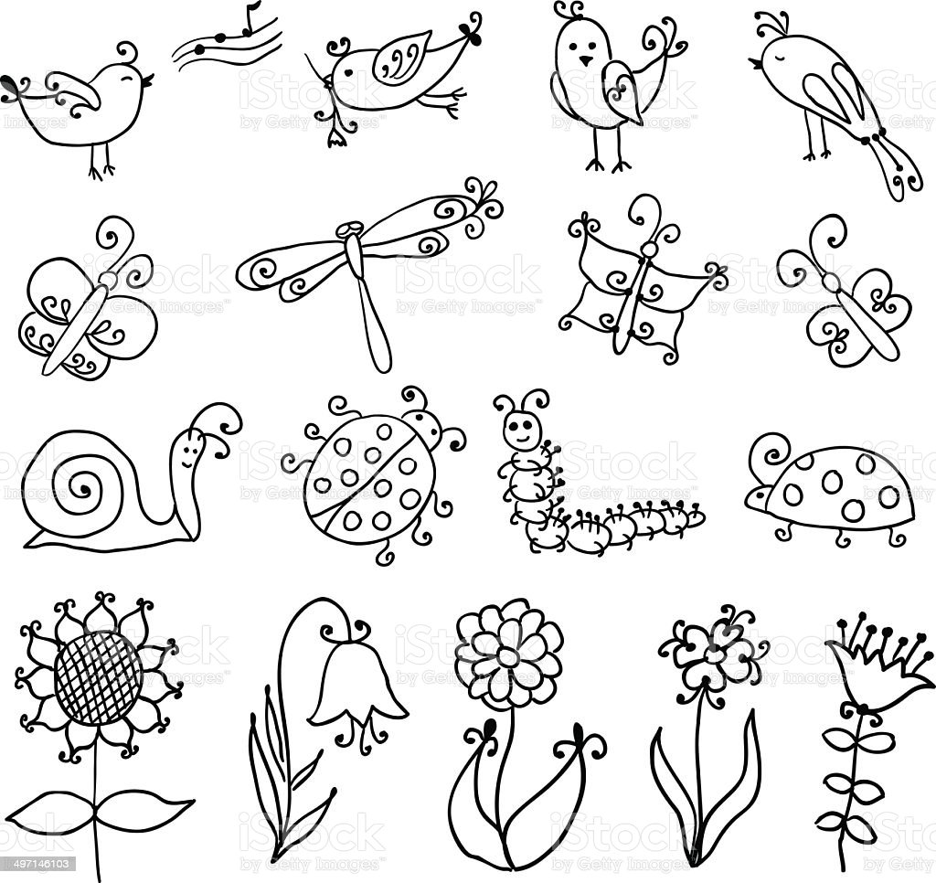 Set of funny cartoon insects isolated royalty-free stock vector art