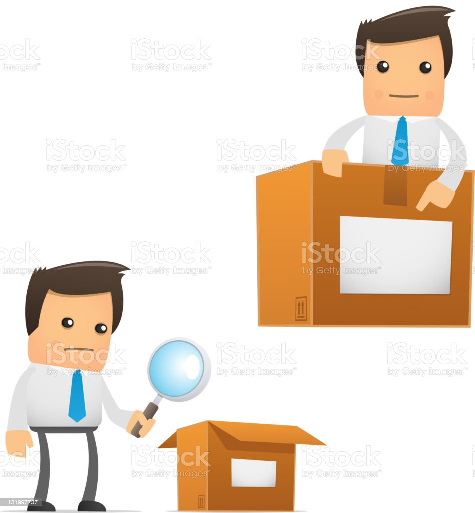 set of funny cartoon manager royalty-free stock vector art