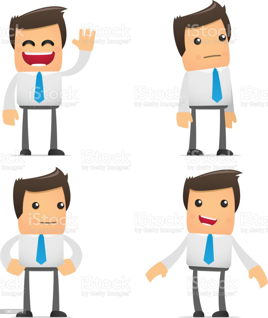 set of funny cartoon manager royalty-free stock photo