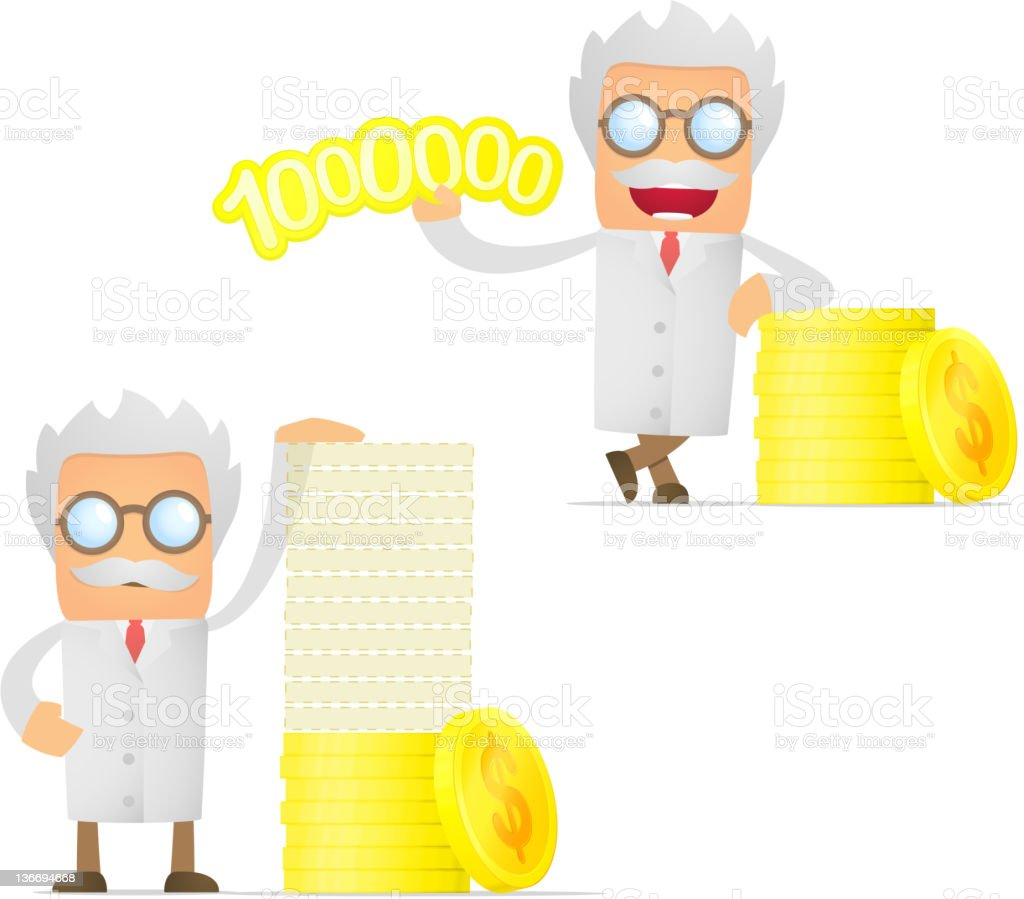 set of funny cartoon scientist royalty-free stock vector art