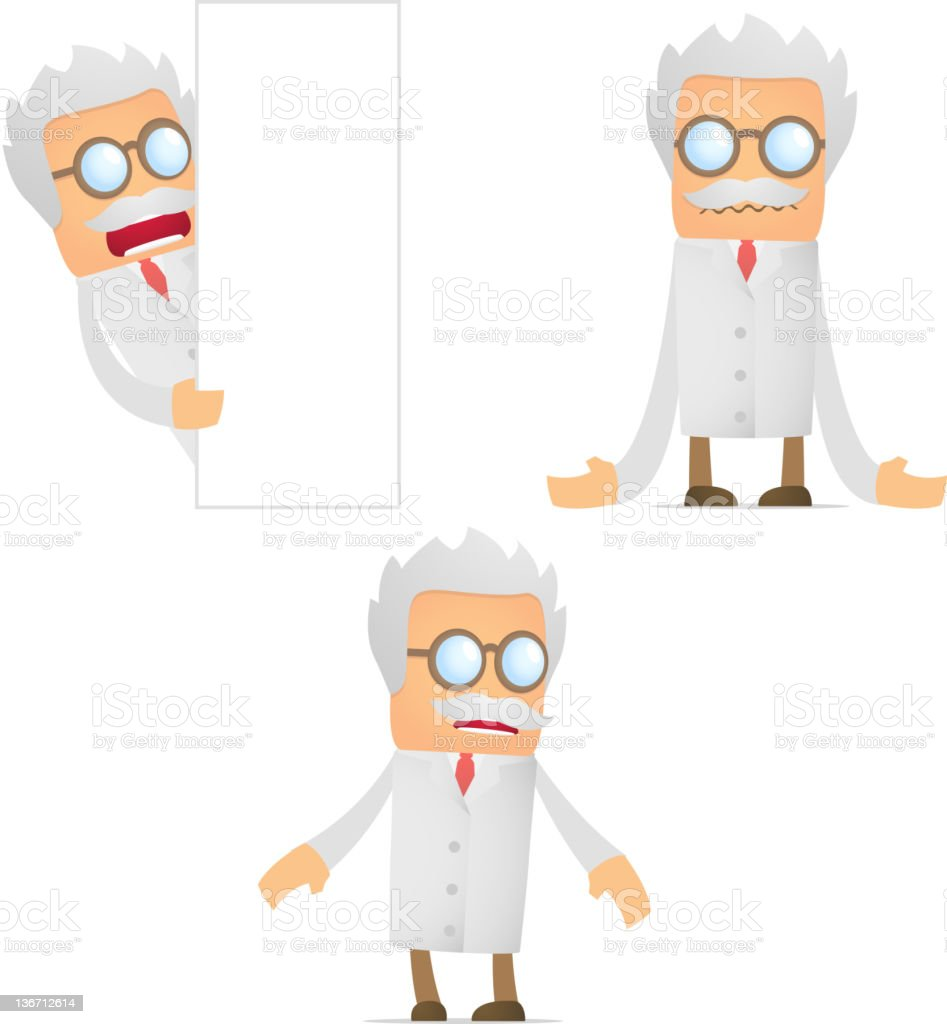 set of funny cartoon scientist royalty-free stock photo