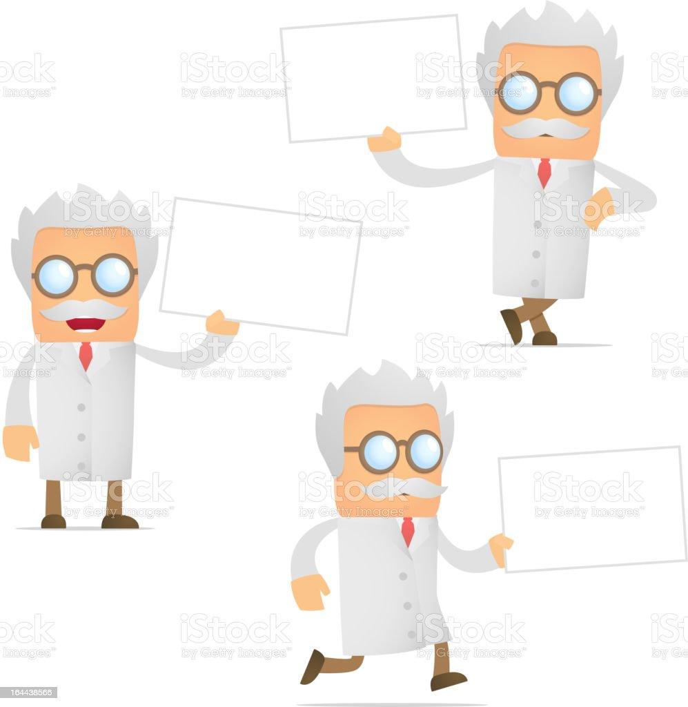 set of funny cartoon scientist royalty-free stock vector art
