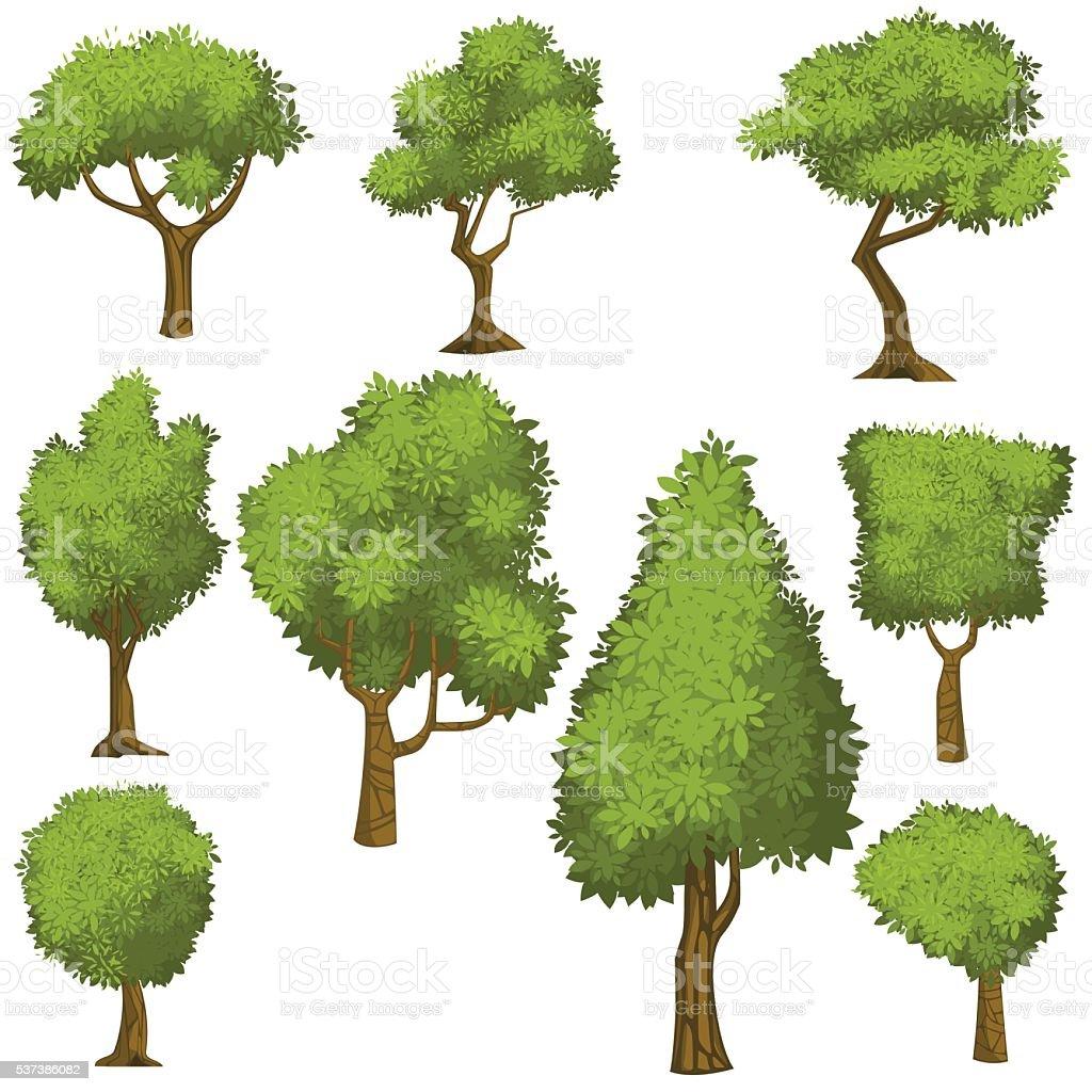 Set of funny cartoon trees and green bushes. vector art illustration