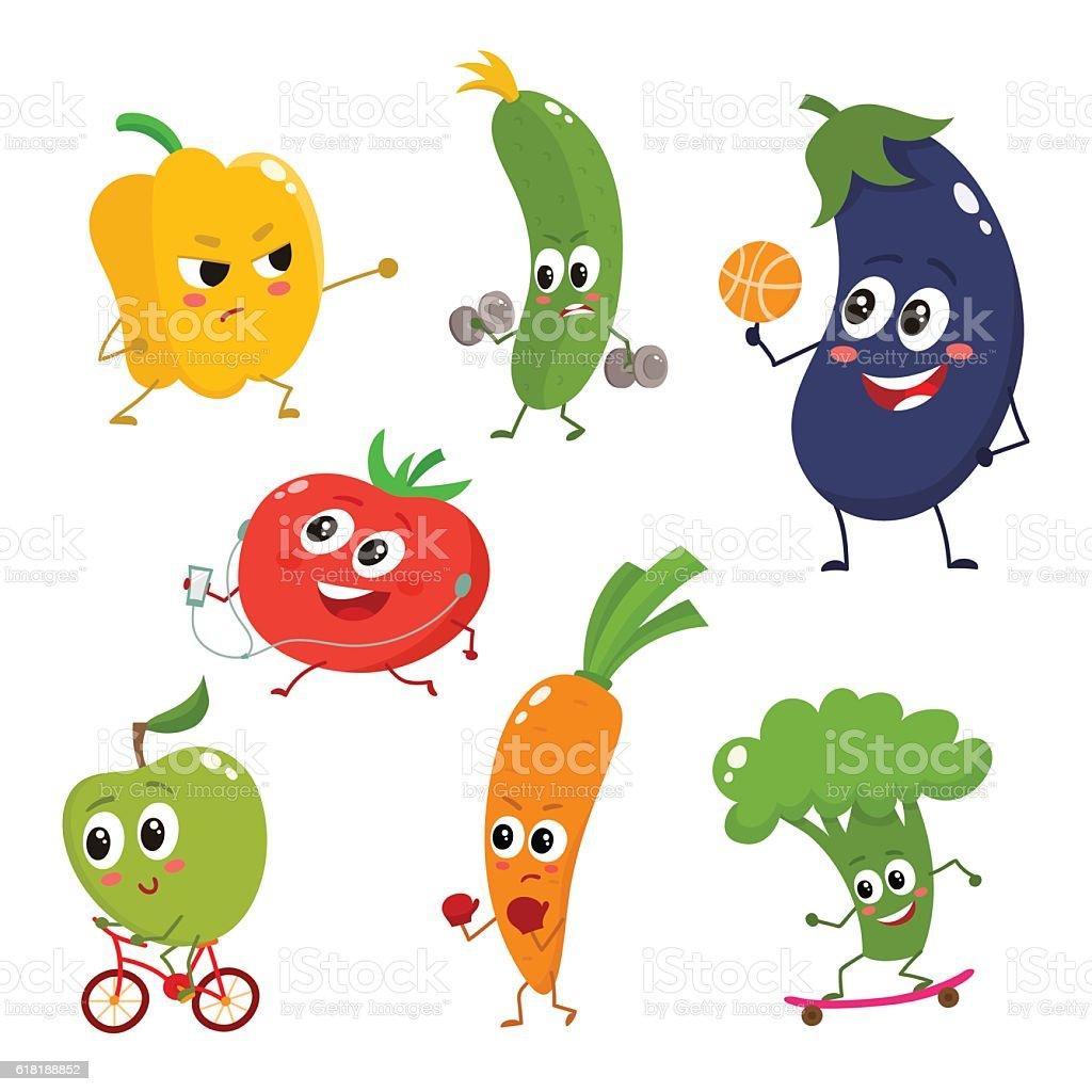 Set of funny cartoon vegetables doing sport vector art illustration