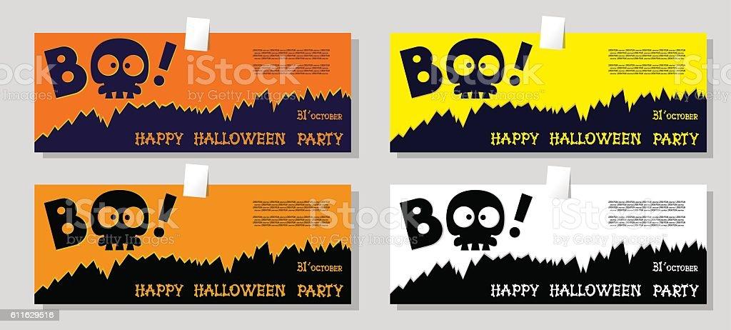 Set of funny holiday banner: title Boo from slull sleleton vector art illustration