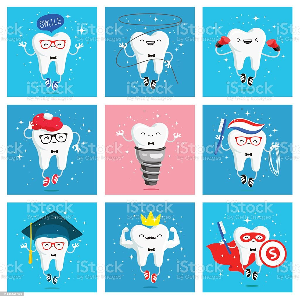 Set of funny icons of teeth vector art illustration
