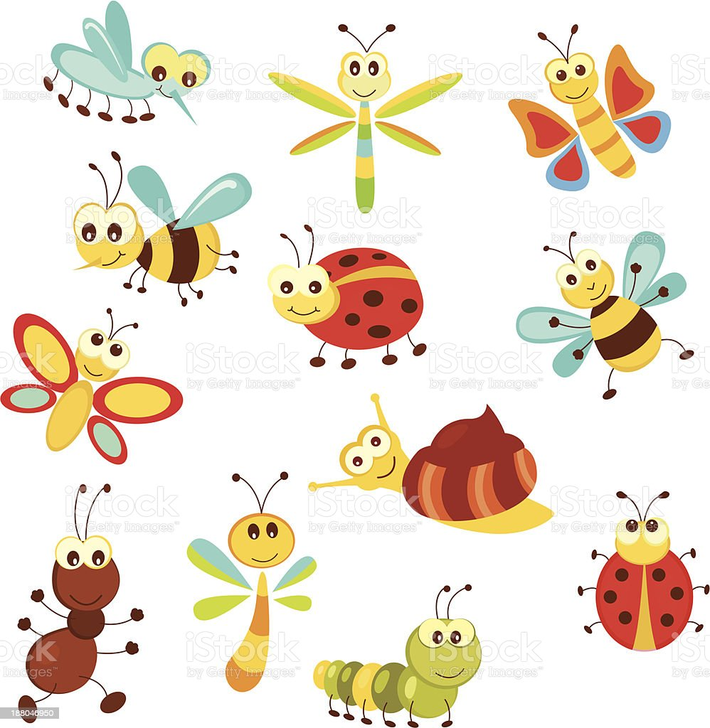Set of funny insects royalty-free stock vector art