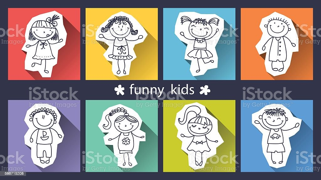 set of funny kids on background royalty-free stock vector art