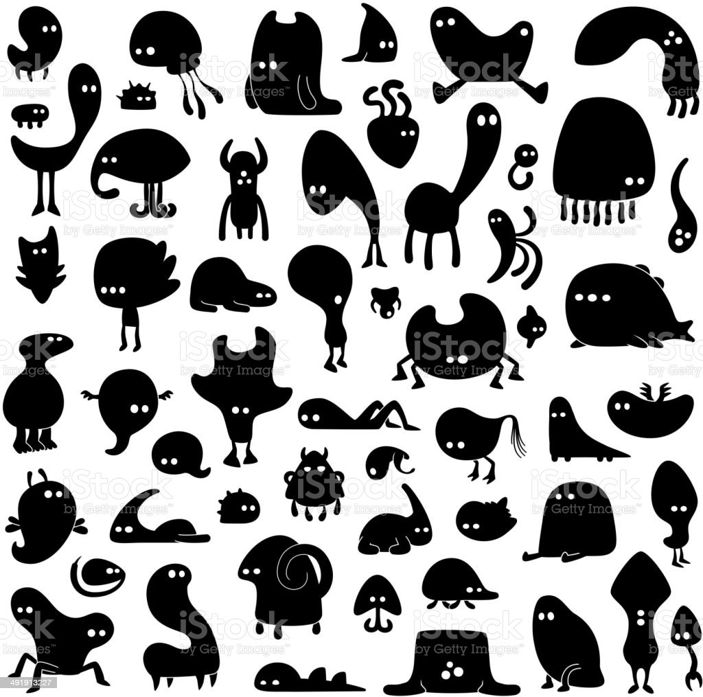 set of funny monsters vector art illustration