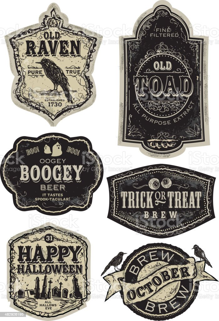 Set of funny old fashioned Halloween beer labels royalty-free stock vector art