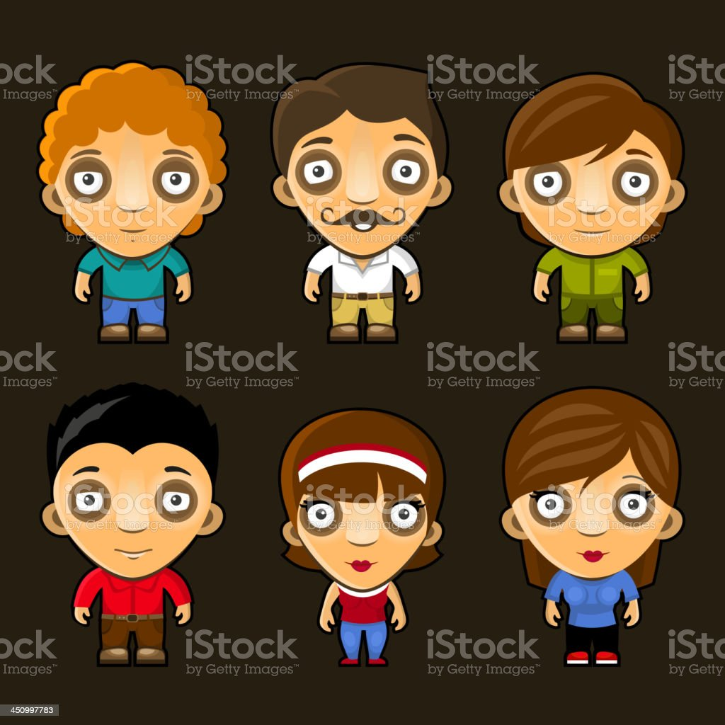 Set of funny people. Cartoon vector characters. royalty-free stock vector art