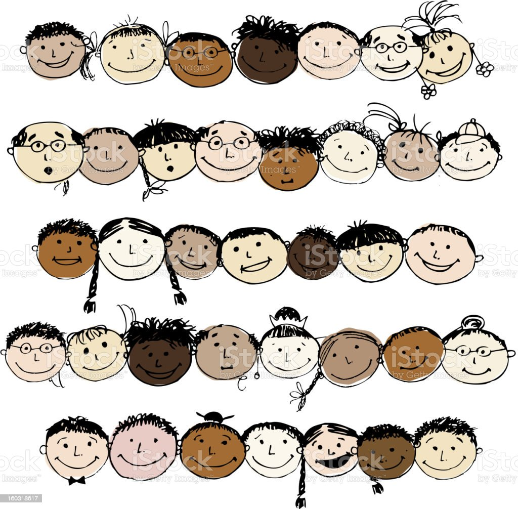 Set of funny peoples, sketch for your design royalty-free stock vector art