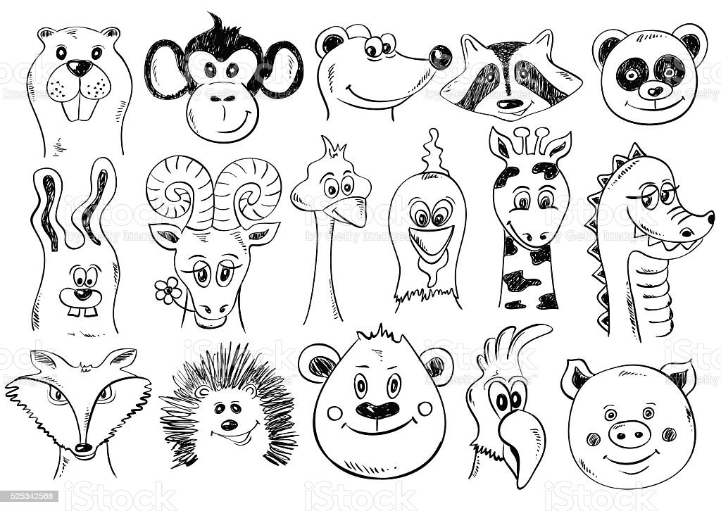 Set Of Funny Sketch Animal Face Icons. vector art illustration