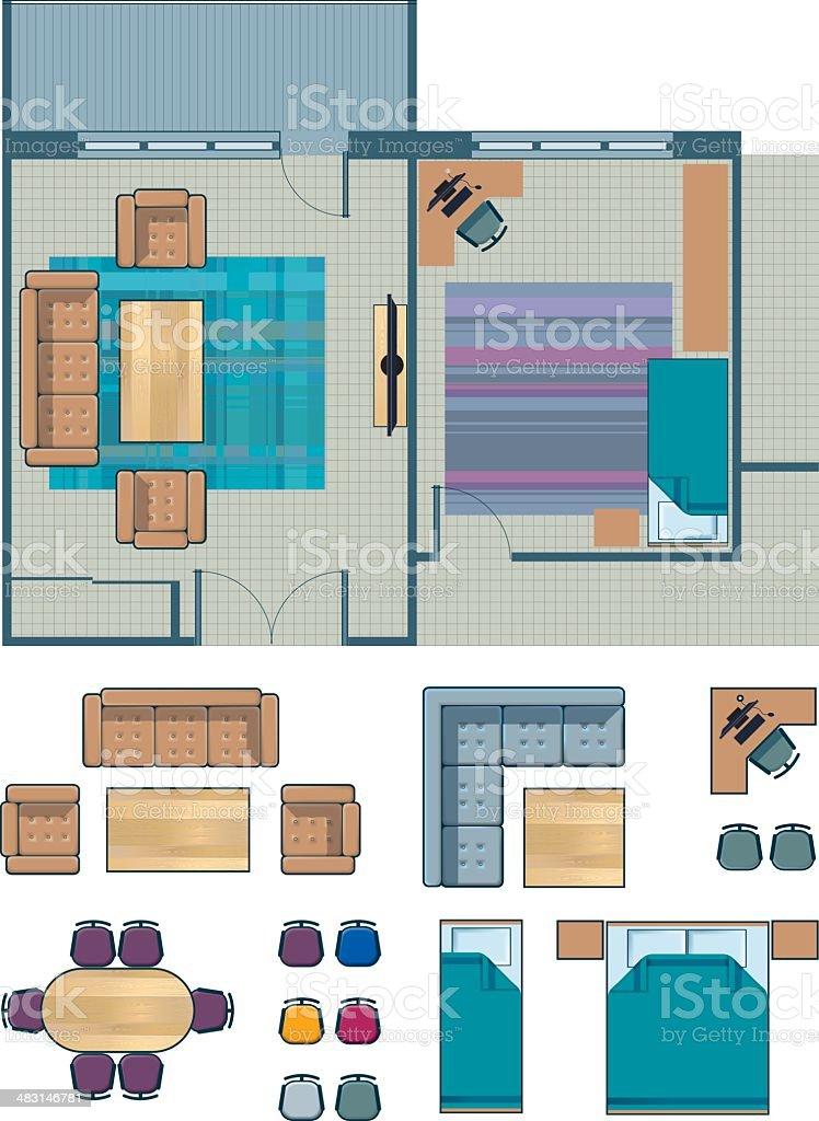 set of furniture for floor planning vector art illustration