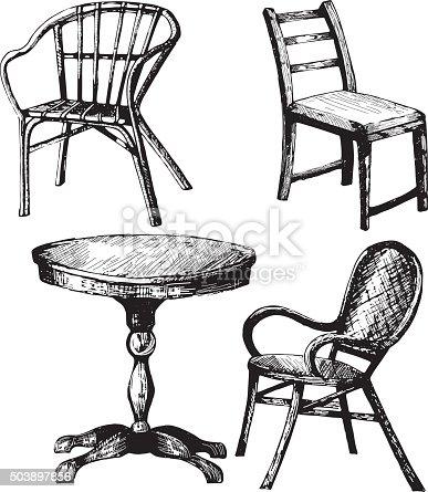Sessel gezeichnet  Satz Von Möbel Von Hand Gezeichnete Darstellung Der Einen Tisch ...