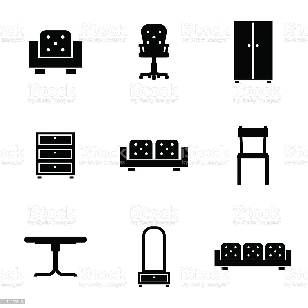 Set of furniture icons silhouettes in black vector art illustration
