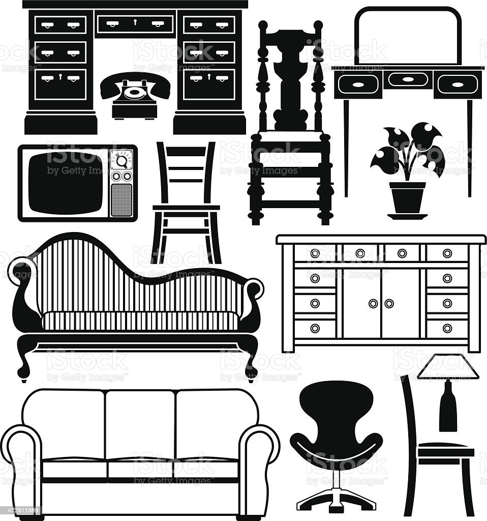 Set of furniture royalty-free stock vector art