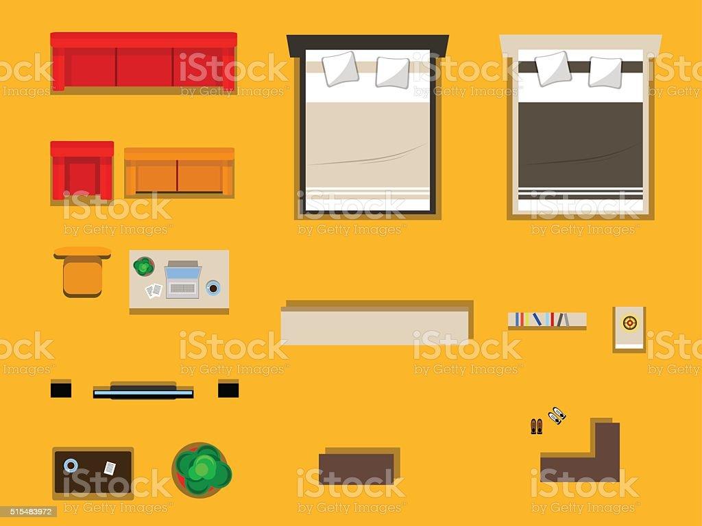 set of furniture vector art illustration