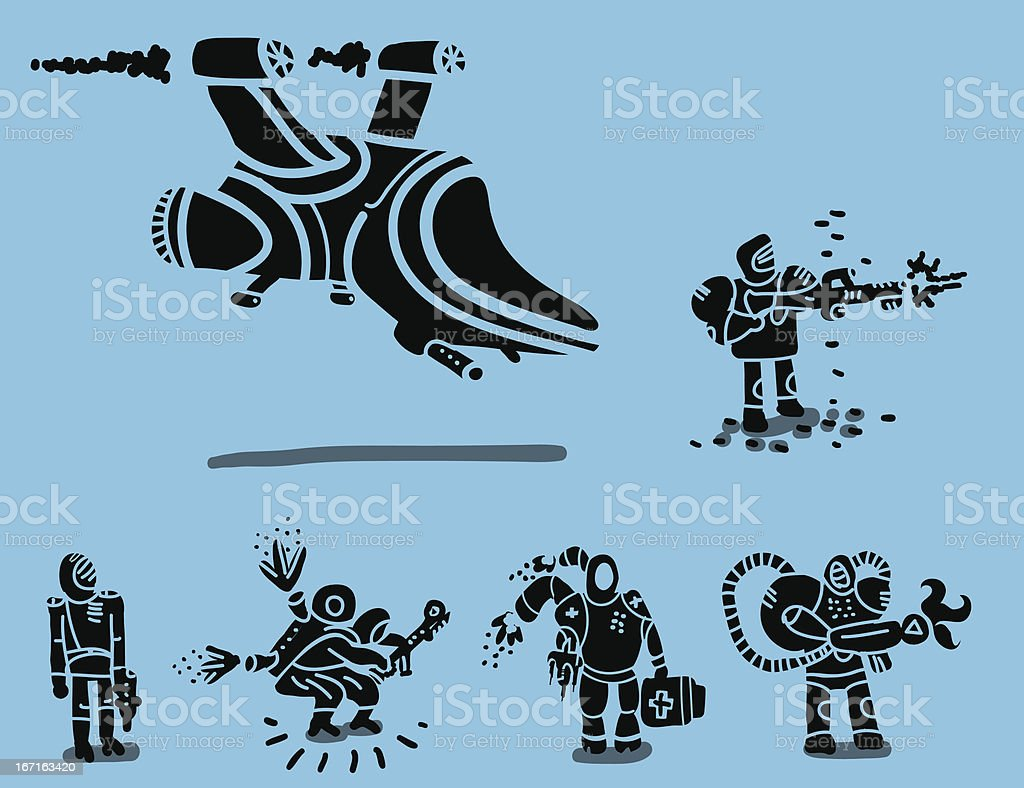 set of futuristic soldiers and patrol ship royalty-free stock vector art