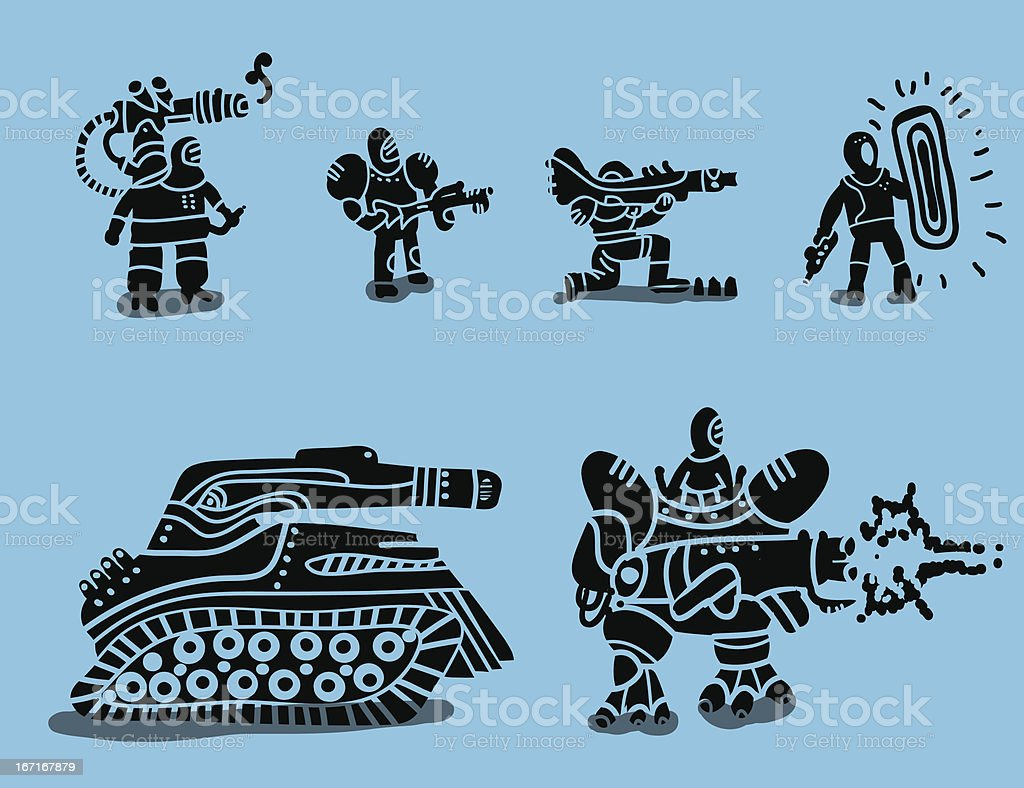 set of futuristic soldiers royalty-free stock vector art