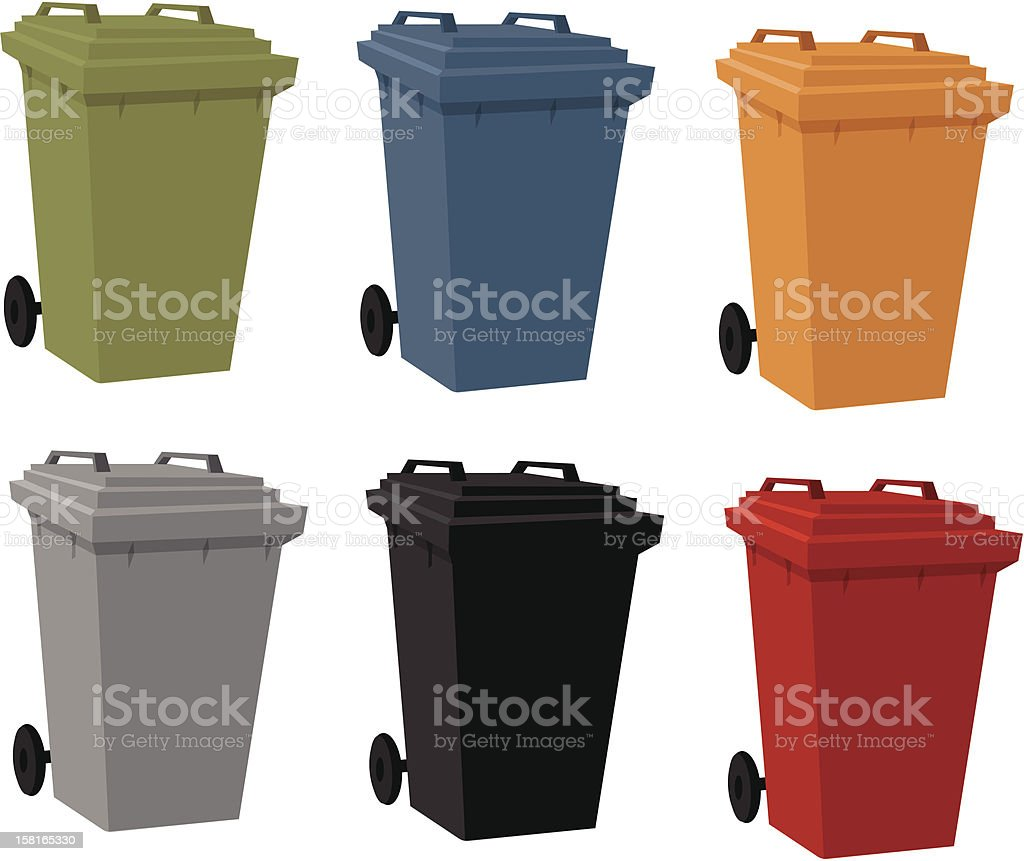 Set of Garbage Cans royalty-free stock vector art