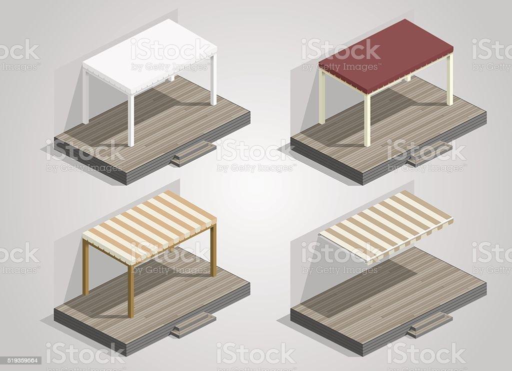 Set of garden sheds vector art illustration