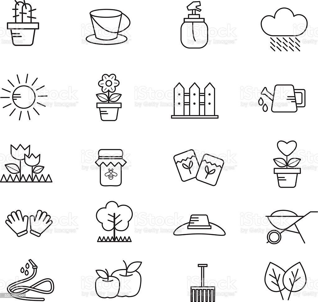 Set of Garden Tools vector art illustration