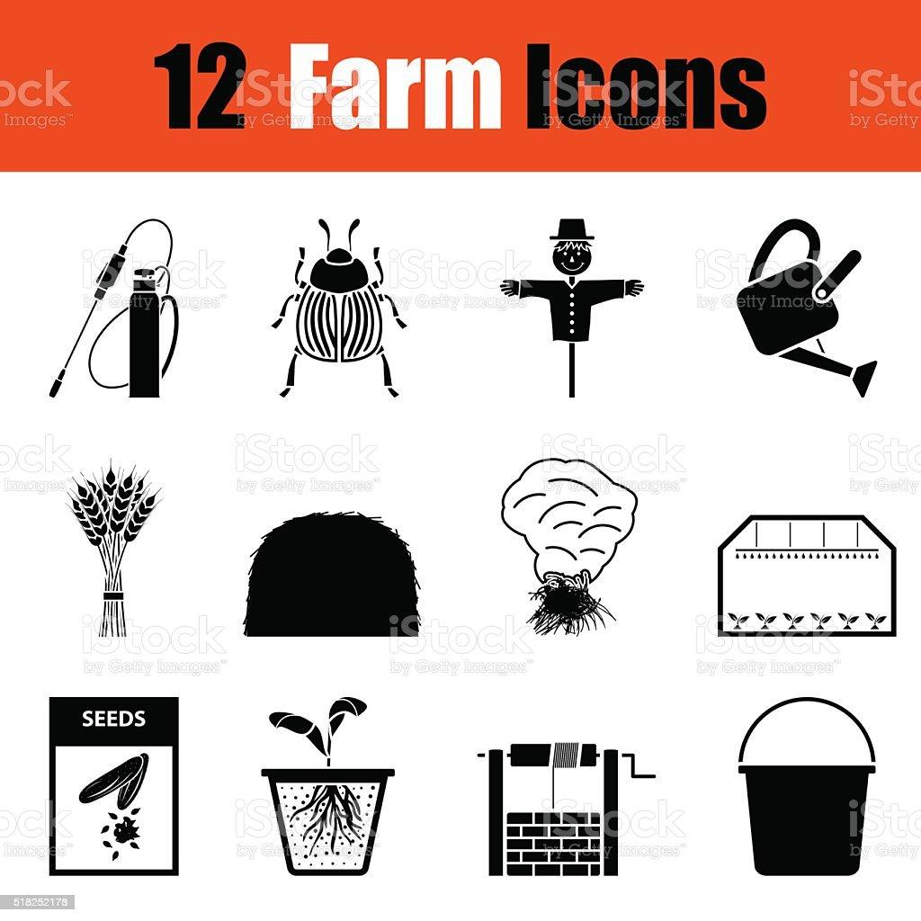 Set of gardening icons vector art illustration