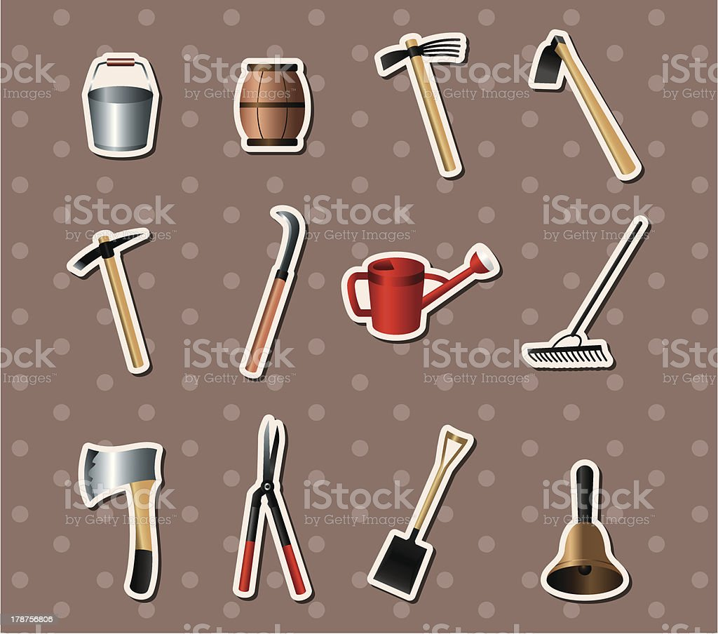 set of Gardening tools stickers royalty-free stock vector art