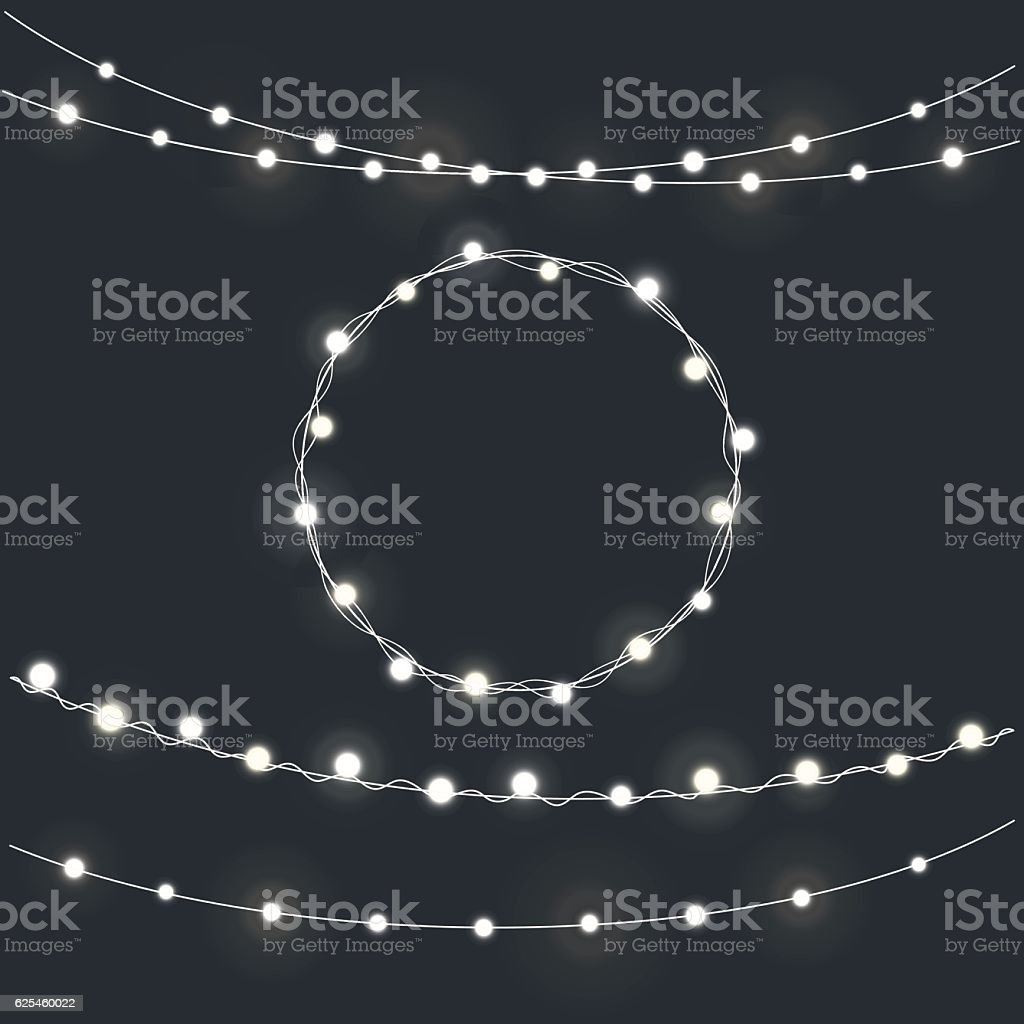 Set of garland Christmas lights vector art illustration
