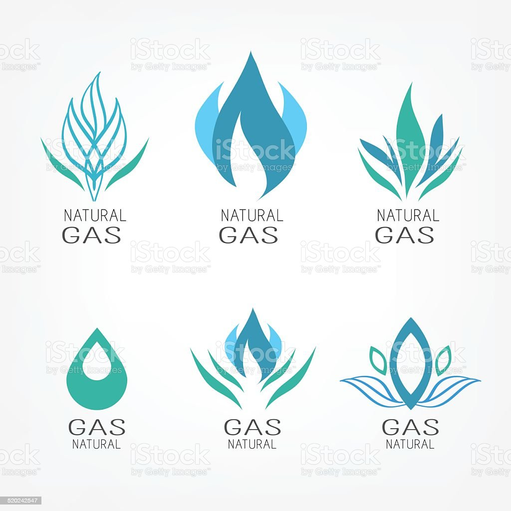 Set of gas icons vector art illustration