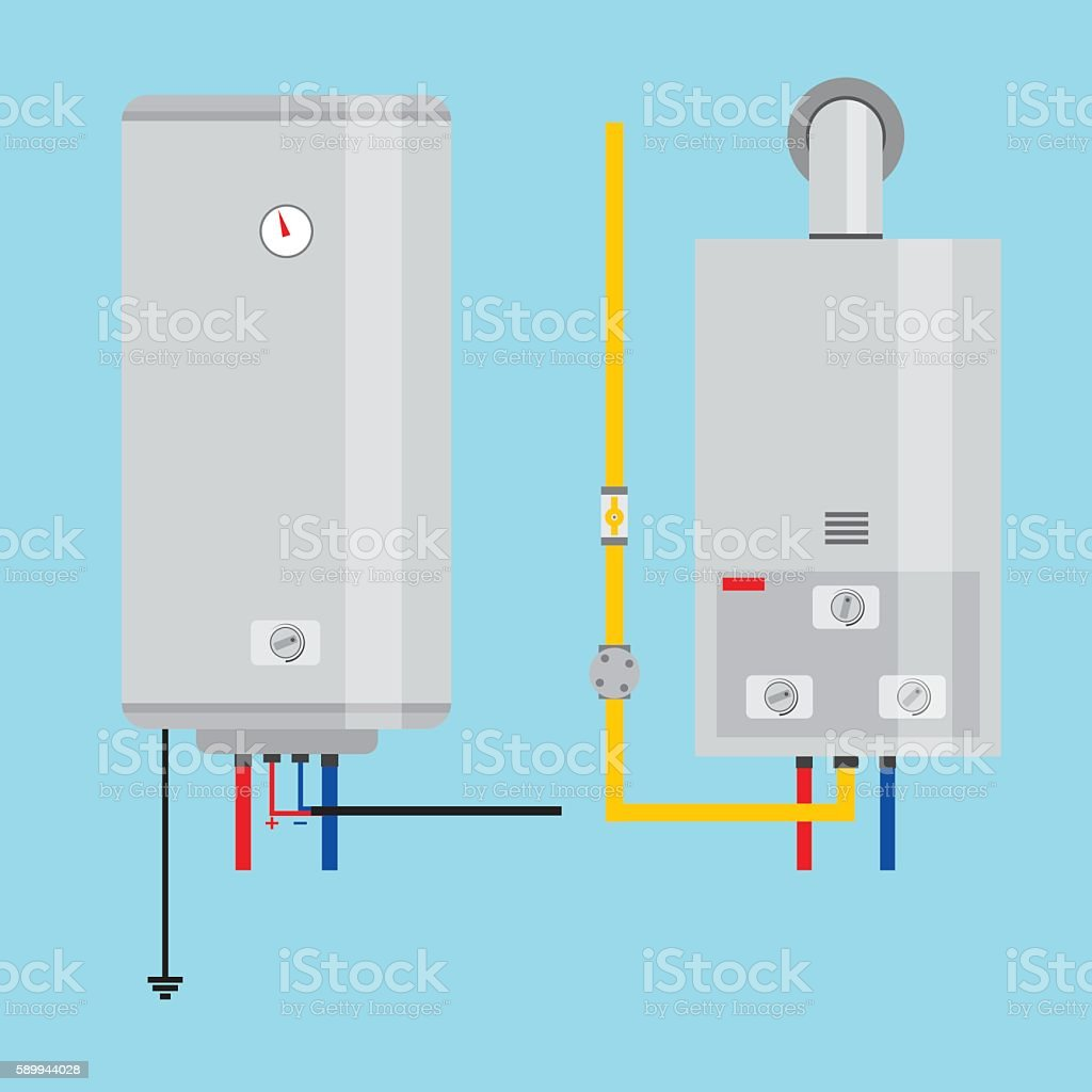 Set of gas water heater and electric water heater. vector art illustration