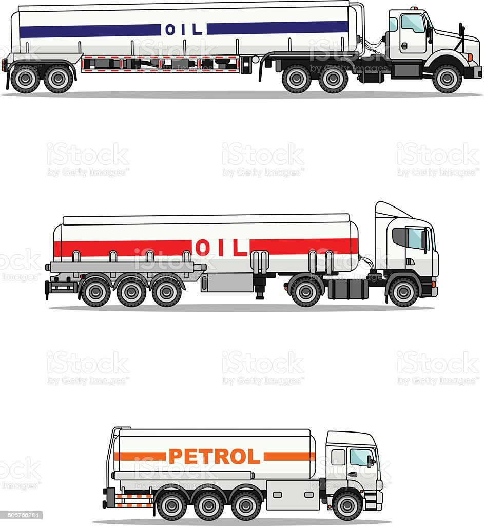 Set of gasoline trucks isolated on a white background. vector art illustration