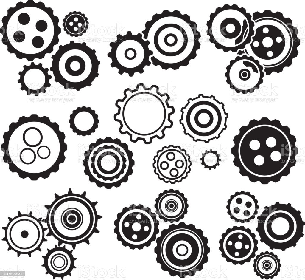 Set of gear icons black and white palette vector art illustration