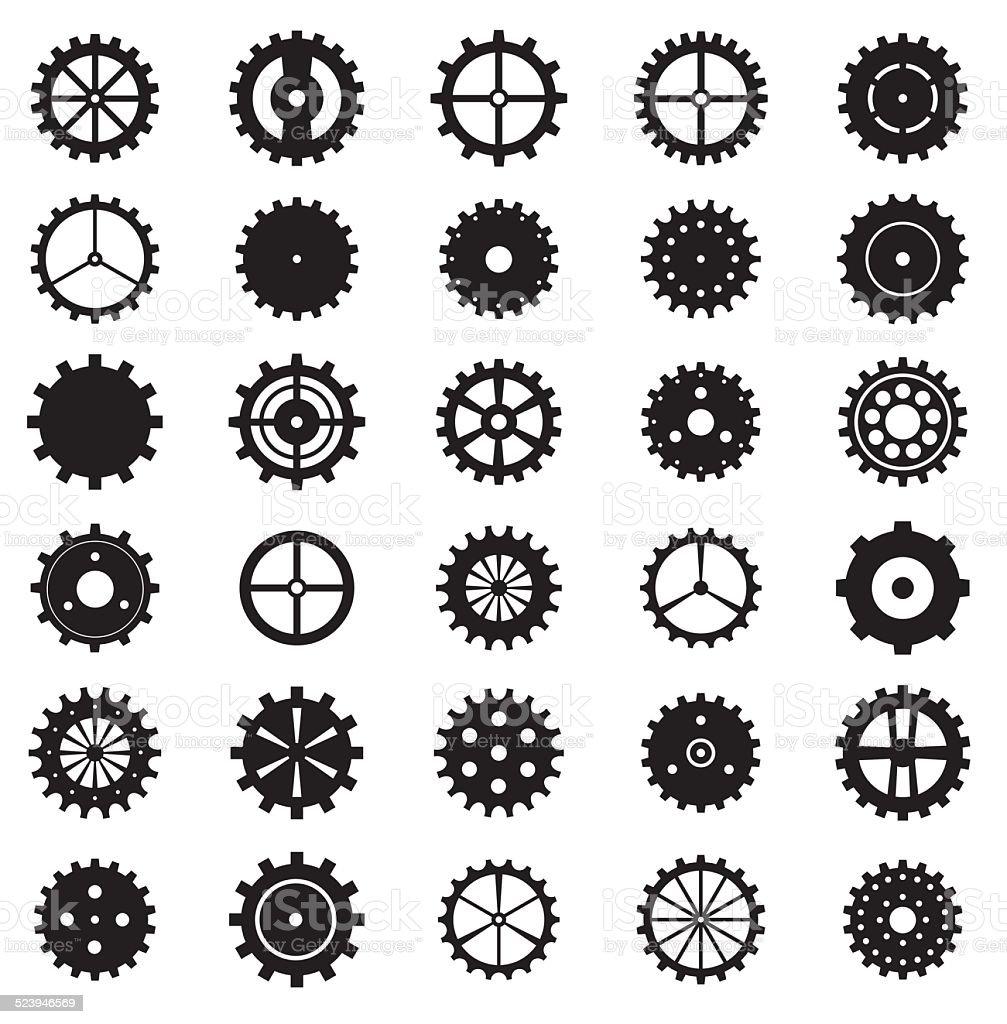 Set of gear wheels, steampunk, vector illustration. vector art illustration