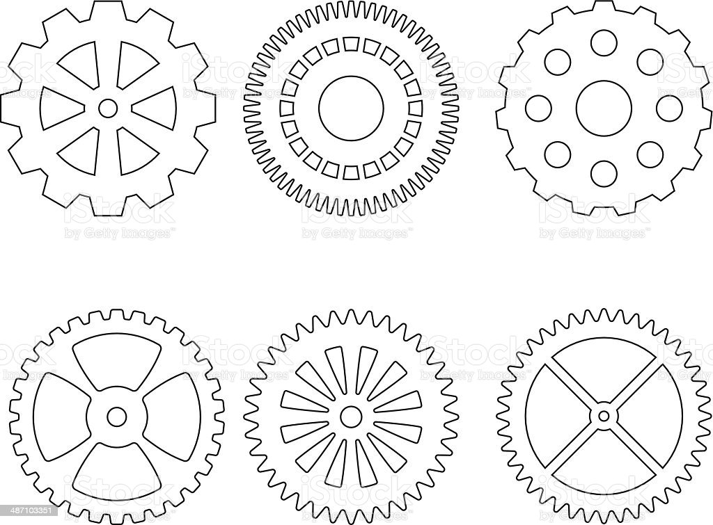 Set of gears icons royalty-free stock vector art