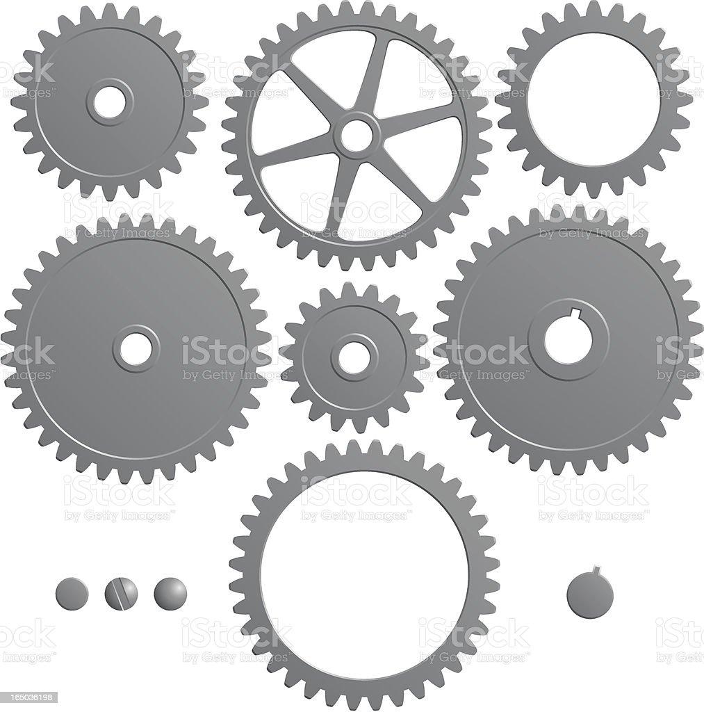 Set of gears vector art illustration