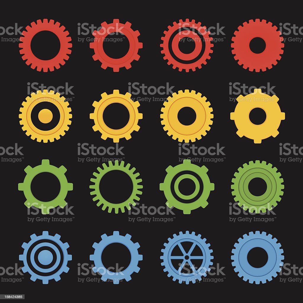 Set of Gears, version with white background included. royalty-free stock vector art