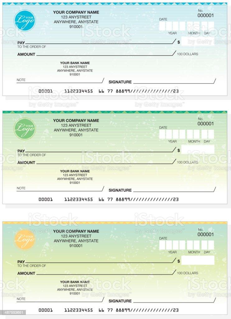 Set of generic company check designs vector art illustration