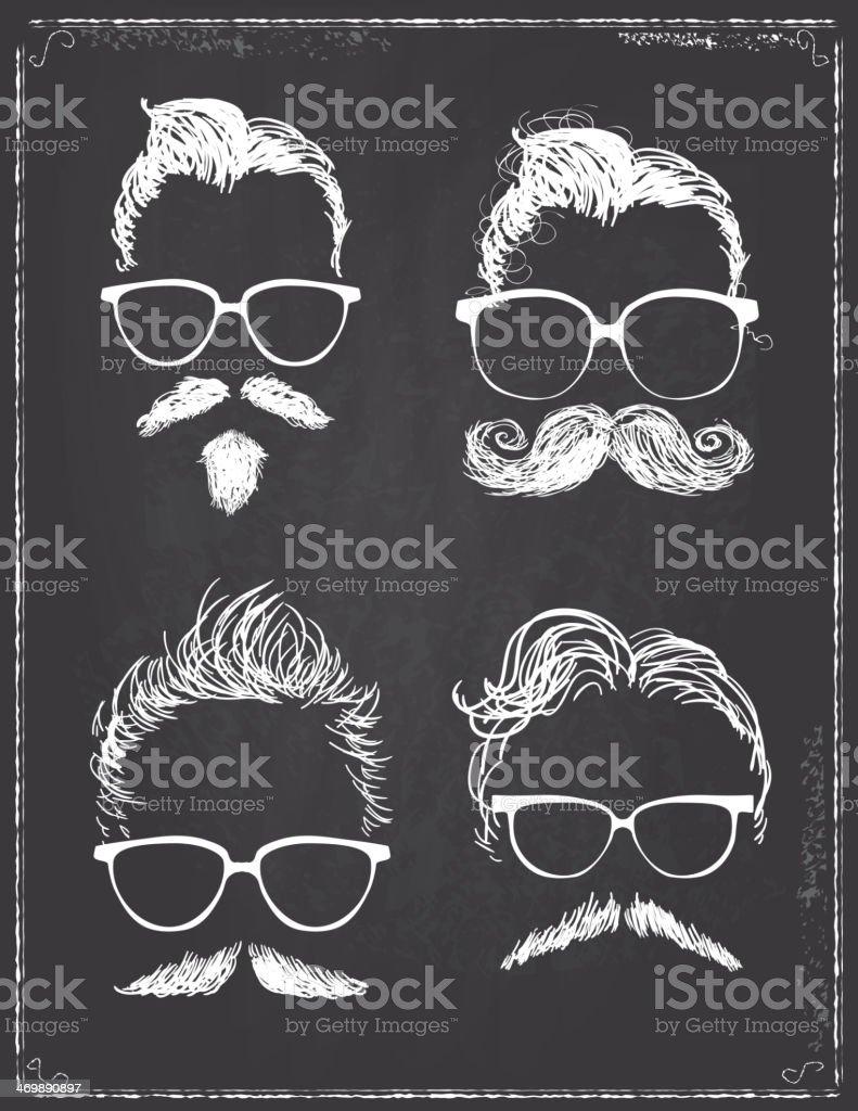 Set of gentleman hipster features on chalkboard vector art illustration