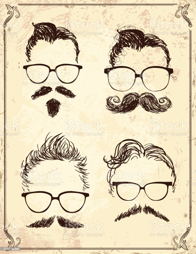 Set of gentleman hipster features on old fashioned background vector art illustration