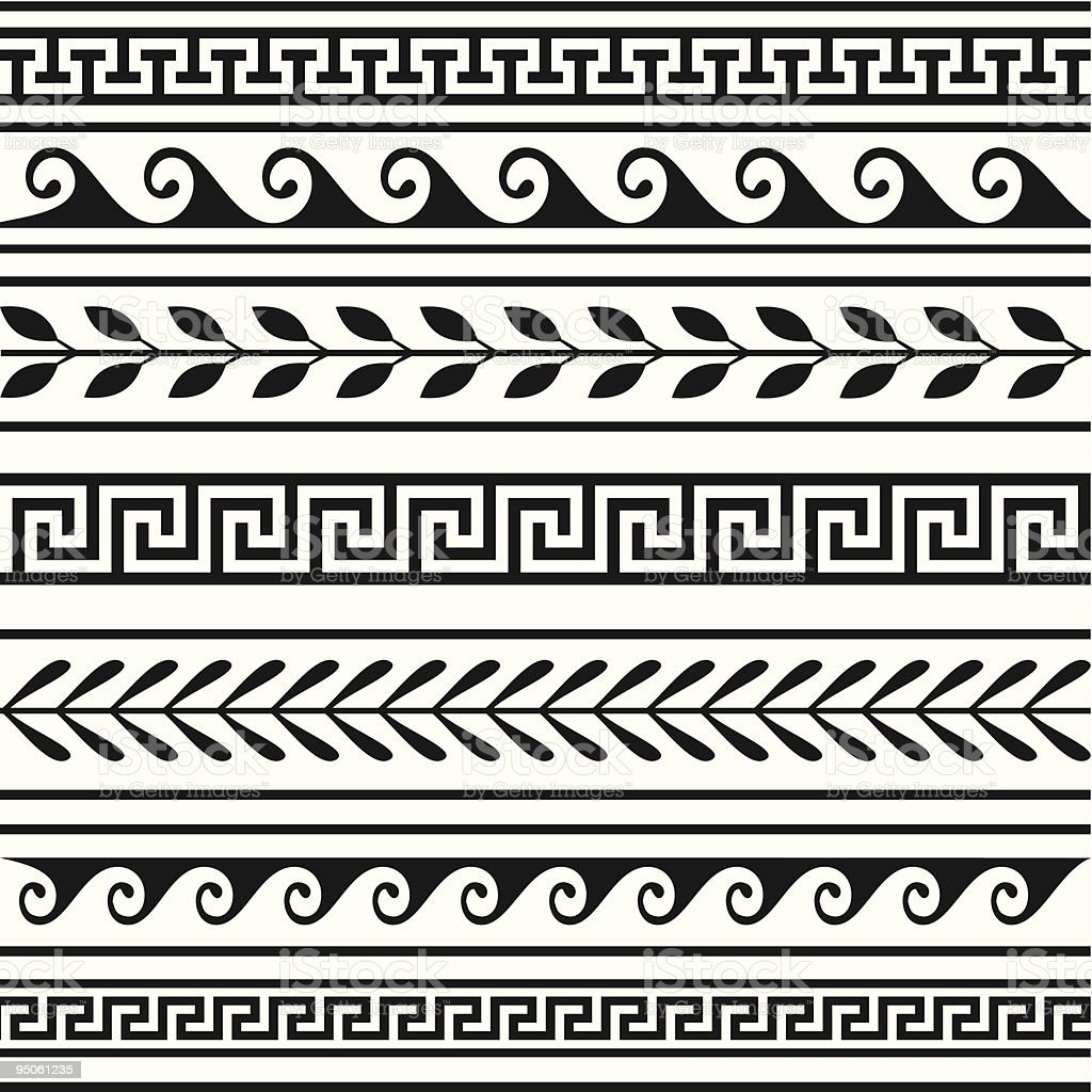 Set of geometric borders vector art illustration
